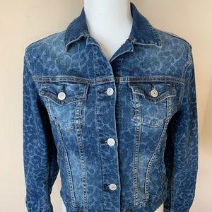 LuLaRoe Harvey leopard print denim jacket #508